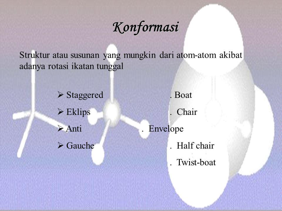 Konformasi Struktur atau susunan yang mungkin dari atom-atom akibat adanya rotasi ikatan tunggal. Staggered . Boat.