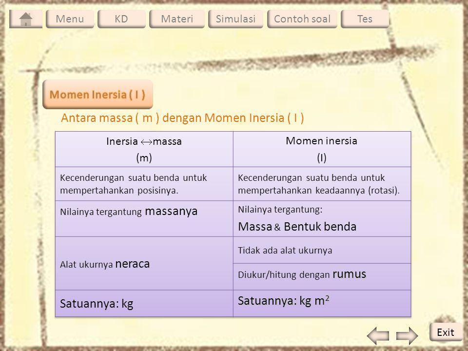 Antara massa ( m ) dengan Momen Inersia ( I ) Massa & Bentuk benda