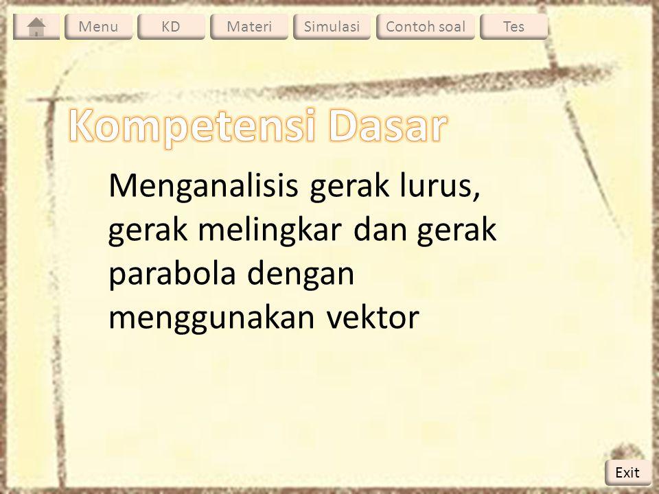 Menu KD. Materi. Simulasi. Contoh soal. Tes. Menu. Kompetensi Dasar. Menganalisis gerak lurus, gerak melingkar dan gerak parabola dengan.