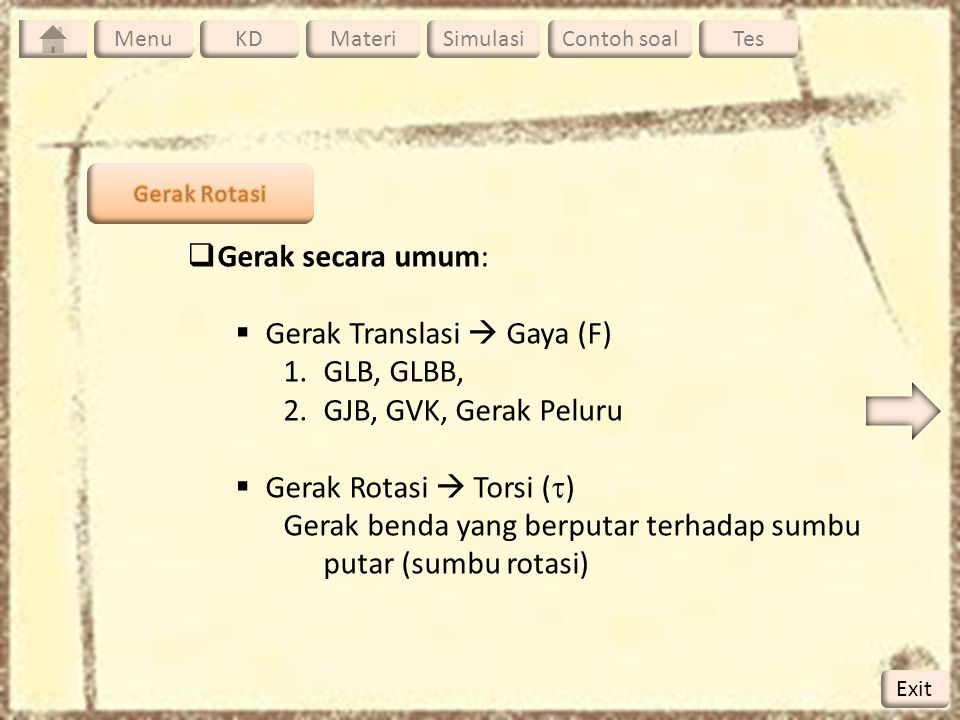Gerak Translasi  Gaya (F) GLB, GLBB, GJB, GVK, Gerak Peluru