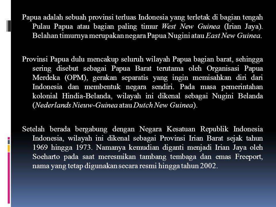 Papua adalah sebuah provinsi terluas Indonesia yang terletak di bagian tengah Pulau Papua atau bagian paling timur West New Guinea (Irian Jaya).