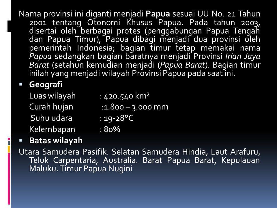 Nama provinsi ini diganti menjadi Papua sesuai UU No