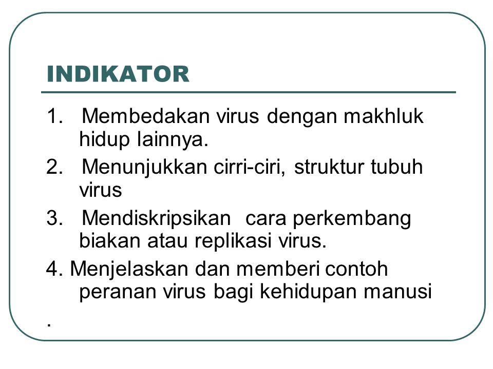 INDIKATOR 1. Membedakan virus dengan makhluk hidup lainnya.