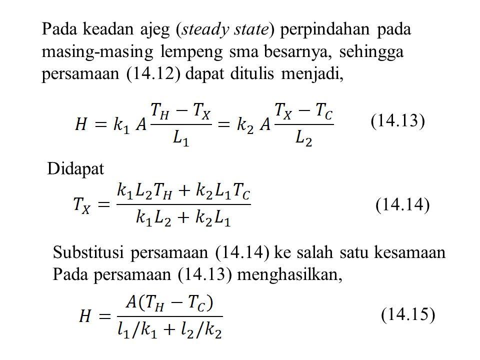 Pada keadan ajeg (steady state) perpindahan pada masing-masing lempeng sma besarnya, sehingga persamaan (14.12) dapat ditulis menjadi,