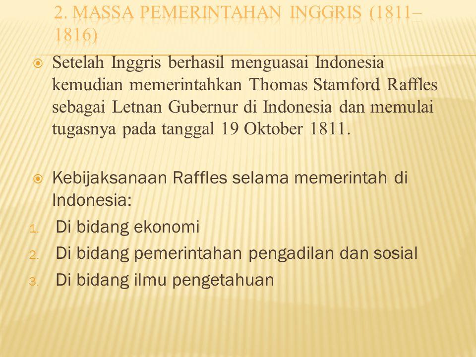 2. massa pemerintahan inggris (1811–1816)