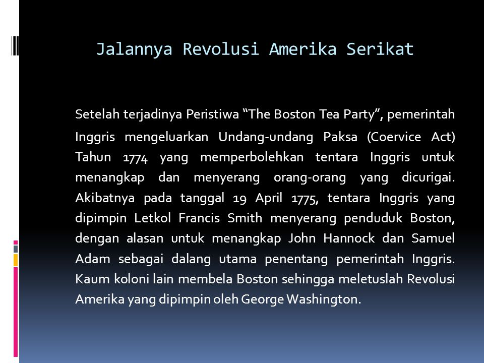 Jalannya Revolusi Amerika Serikat