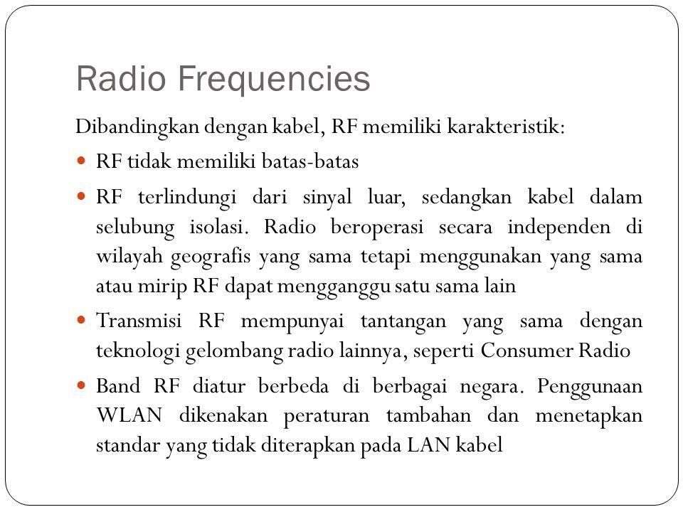 Radio Frequencies Dibandingkan dengan kabel, RF memiliki karakteristik: RF tidak memiliki batas-batas.