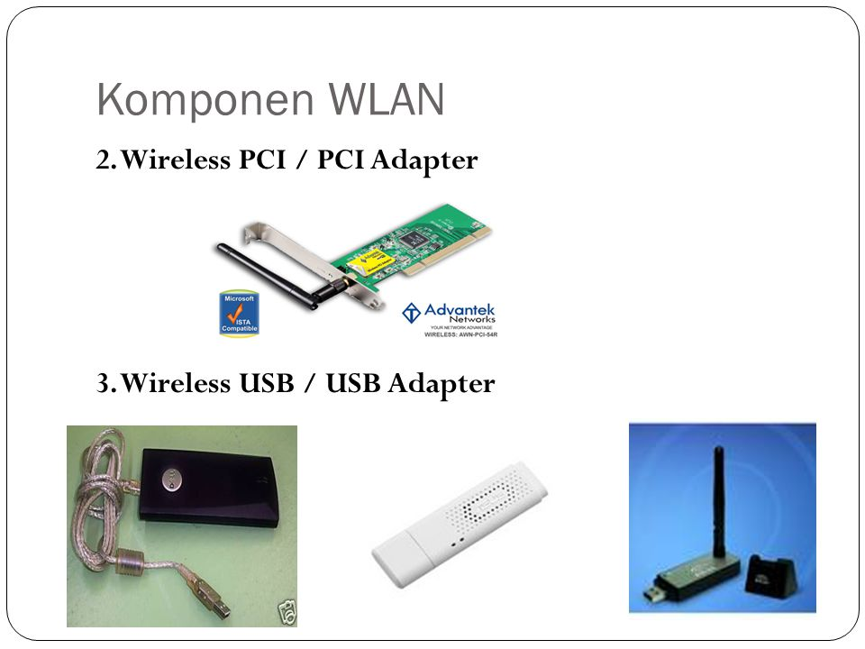 Komponen WLAN 2. Wireless PCI / PCI Adapter 3. Wireless USB / USB Adapter