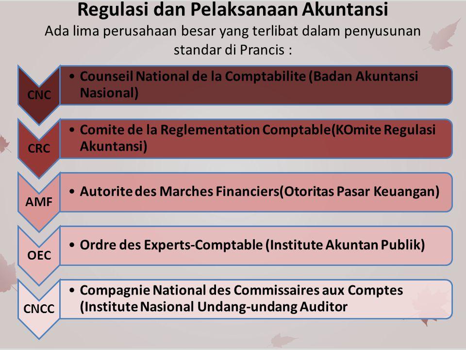 Regulasi dan Pelaksanaan Akuntansi Ada lima perusahaan besar yang terlibat dalam penyusunan standar di Prancis :