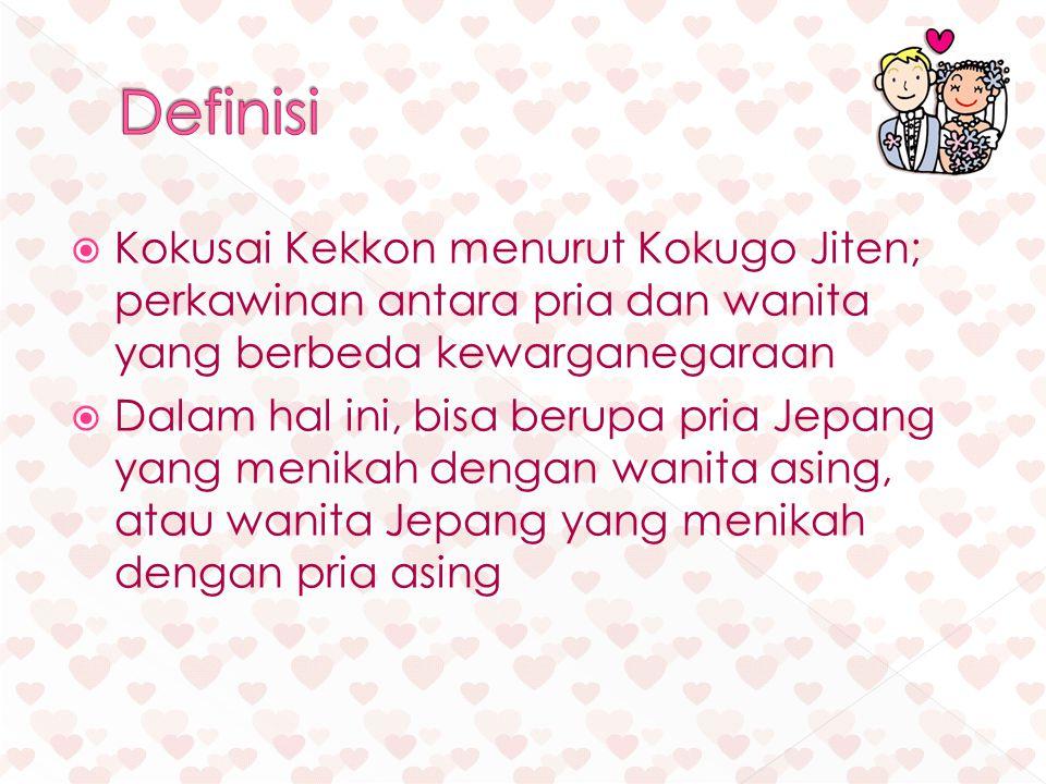 Definisi Kokusai Kekkon menurut Kokugo Jiten; perkawinan antara pria dan wanita yang berbeda kewarganegaraan.