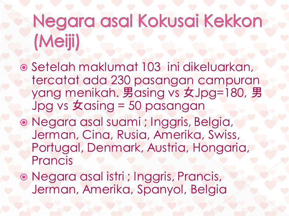 Negara asal Kokusai Kekkon (Meiji)