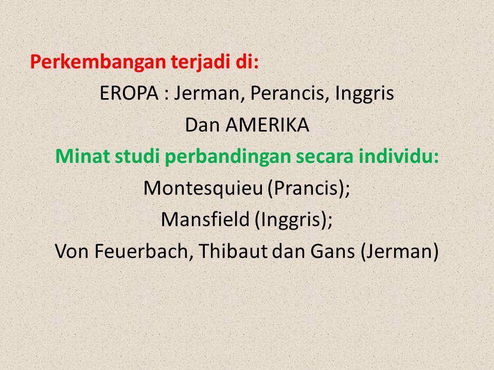Perkembangan terjadi di: EROPA : Jerman, Perancis, Inggris Dan AMERIKA Minat studi perbandingan secara individu: Montesquieu (Prancis); Mansfield (Inggris); Von Feuerbach, Thibaut dan Gans (Jerman)