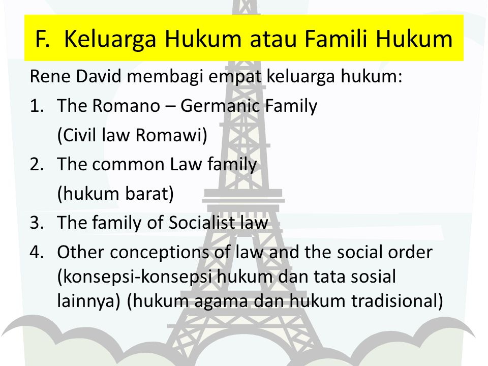 F. Keluarga Hukum atau Famili Hukum