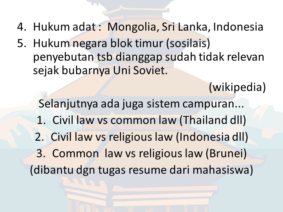 Hukum adat : Mongolia, Sri Lanka, Indonesia