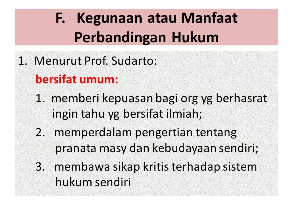 F. Kegunaan atau Manfaat Perbandingan Hukum