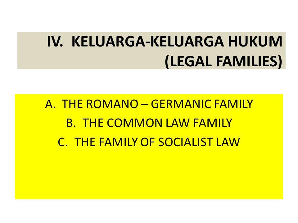 IV. KELUARGA-KELUARGA HUKUM (LEGAL FAMILIES)