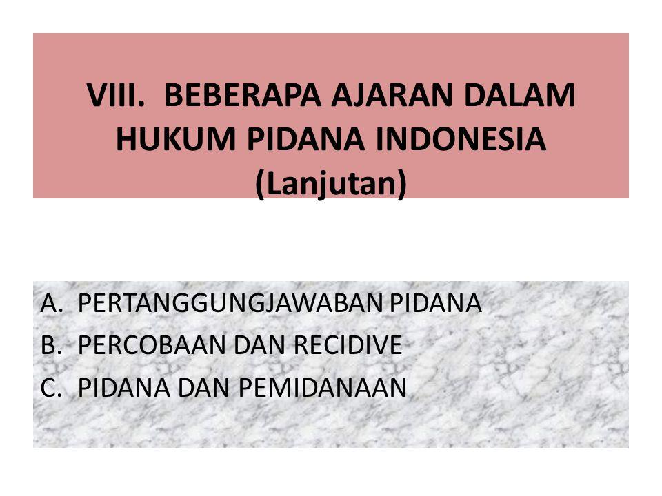 VIII. BEBERAPA AJARAN DALAM HUKUM PIDANA INDONESIA (Lanjutan)