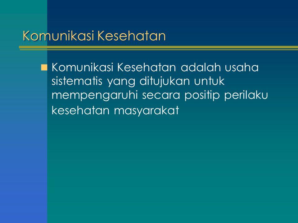Komunikasi Kesehatan Komunikasi Kesehatan adalah usaha sistematis yang ditujukan untuk mempengaruhi secara positip perilaku kesehatan masyarakat.