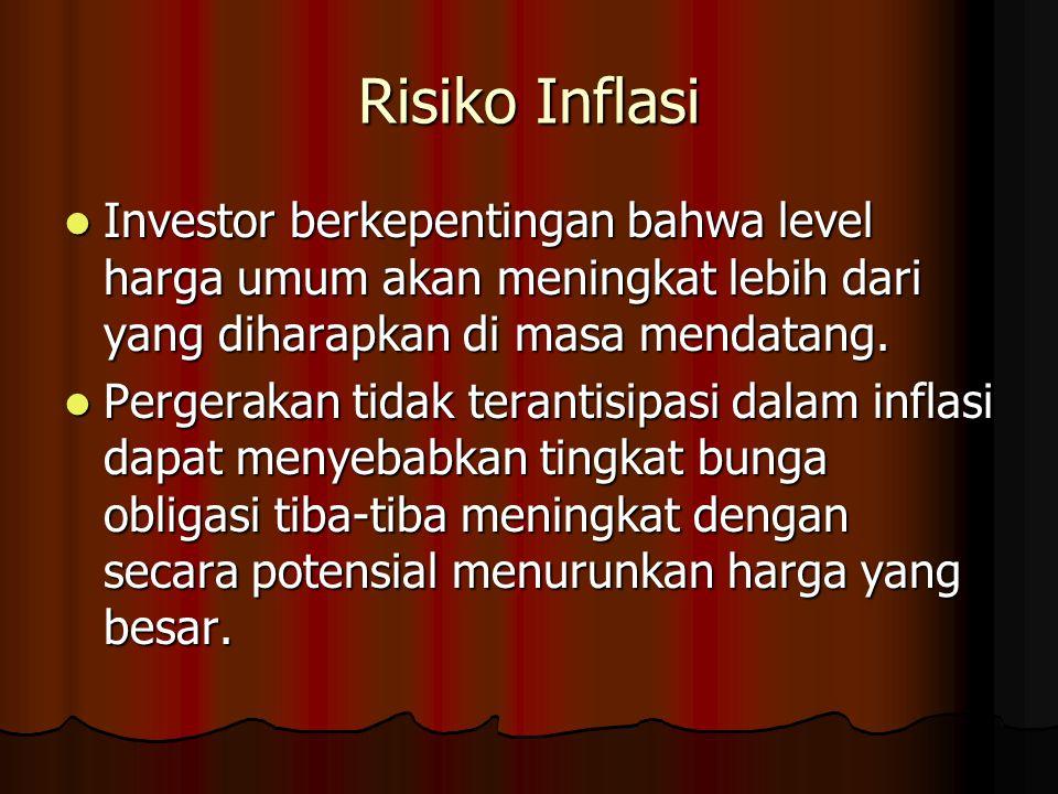 Risiko Inflasi Investor berkepentingan bahwa level harga umum akan meningkat lebih dari yang diharapkan di masa mendatang.