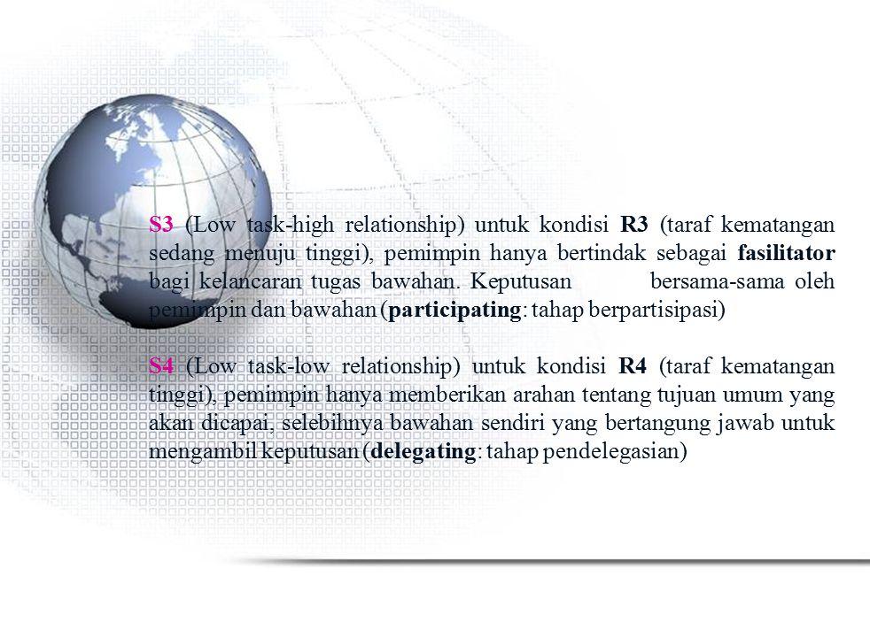 S3 (Low task-high relationship) untuk kondisi R3 (taraf kematangan sedang menuju tinggi), pemimpin hanya bertindak sebagai fasilitator bagi kelancaran tugas bawahan. Keputusan dibuat bersama-sama oleh pemimpin dan bawahan (participating: tahap berpartisipasi)