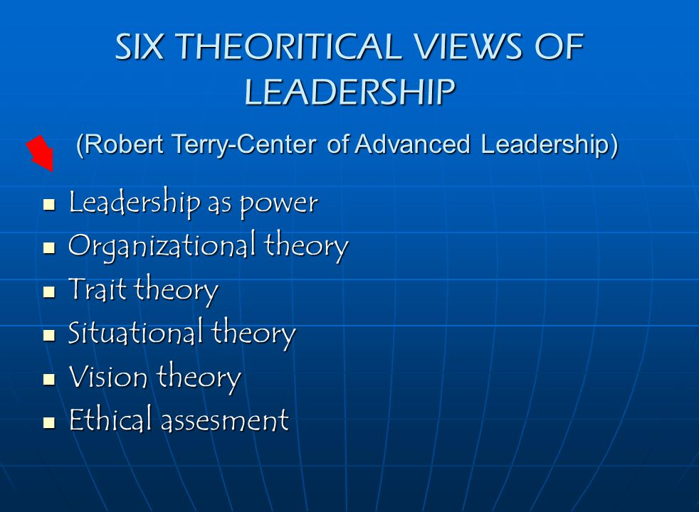 SIX THEORITICAL VIEWS OF LEADERSHIP