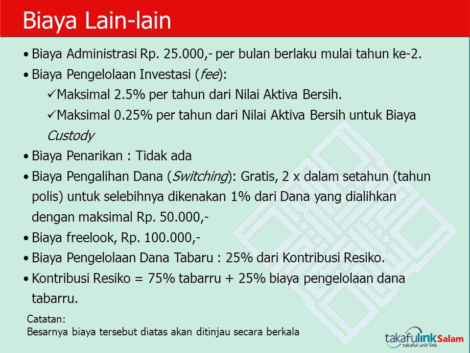 Biaya Lain-lain Biaya Administrasi Rp. 25.000,- per bulan berlaku mulai tahun ke-2. Biaya Pengelolaan Investasi (fee):