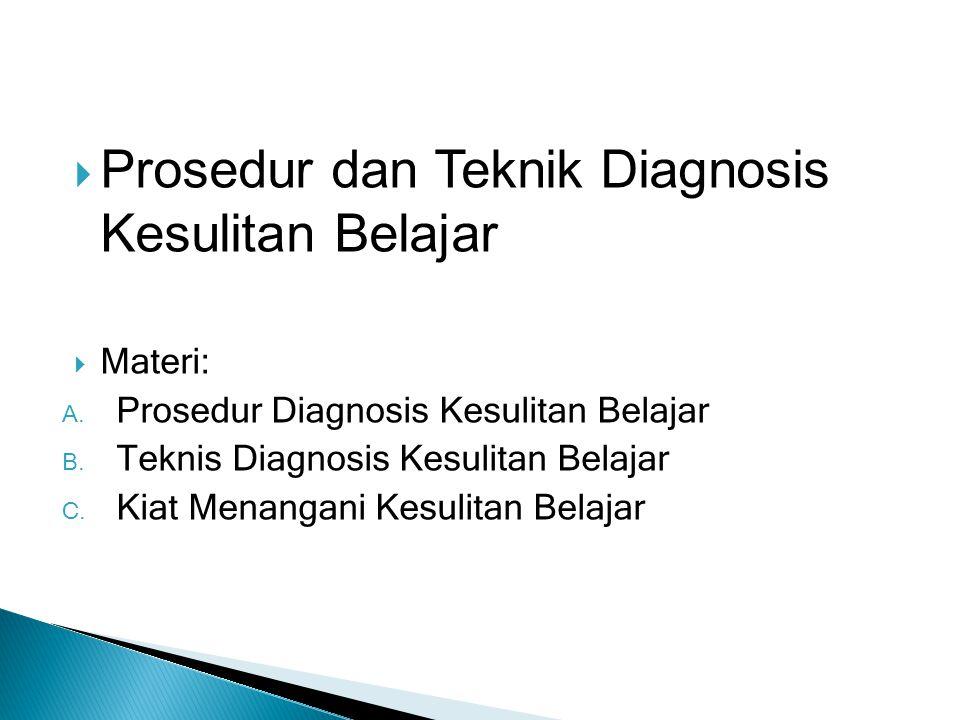 Prosedur dan Teknik Diagnosis Kesulitan Belajar