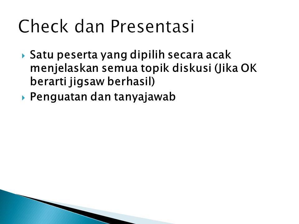 Check dan Presentasi Satu peserta yang dipilih secara acak menjelaskan semua topik diskusi (Jika OK berarti jigsaw berhasil)
