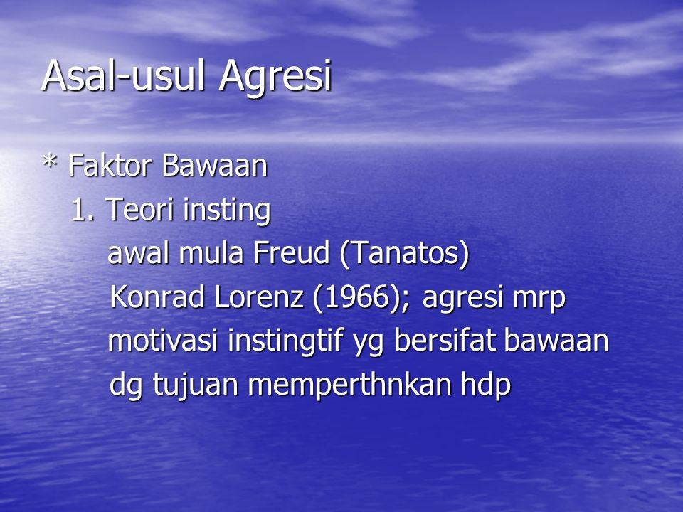 Asal-usul Agresi * Faktor Bawaan 1. Teori insting