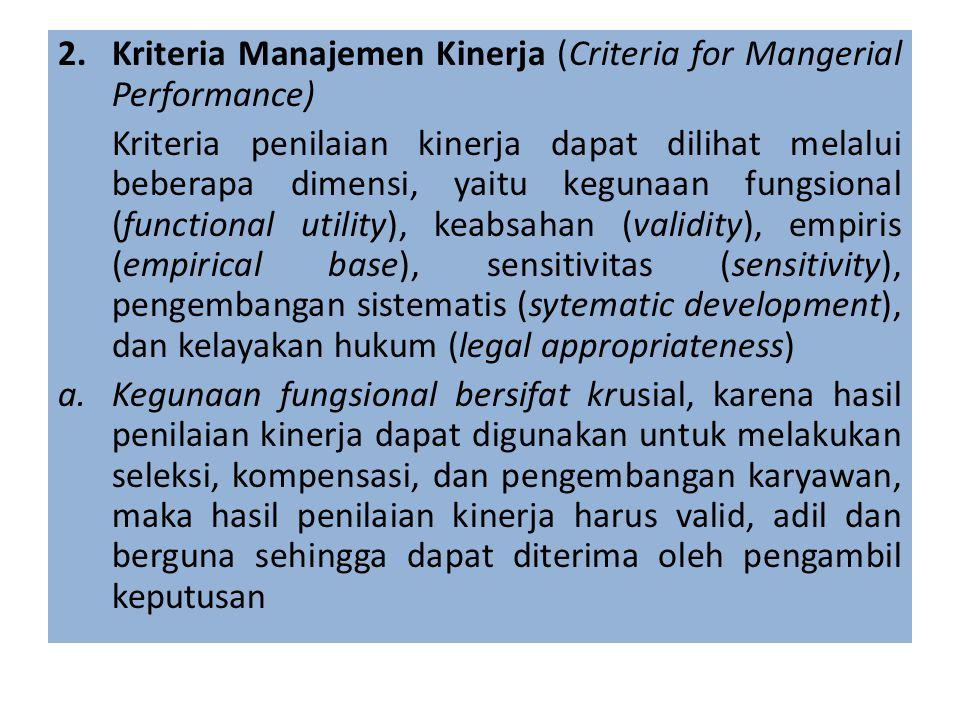 Kriteria Manajemen Kinerja (Criteria for Mangerial Performance)