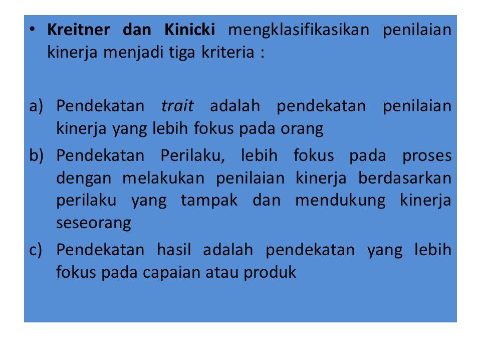 Kreitner dan Kinicki mengklasifikasikan penilaian kinerja menjadi tiga kriteria :