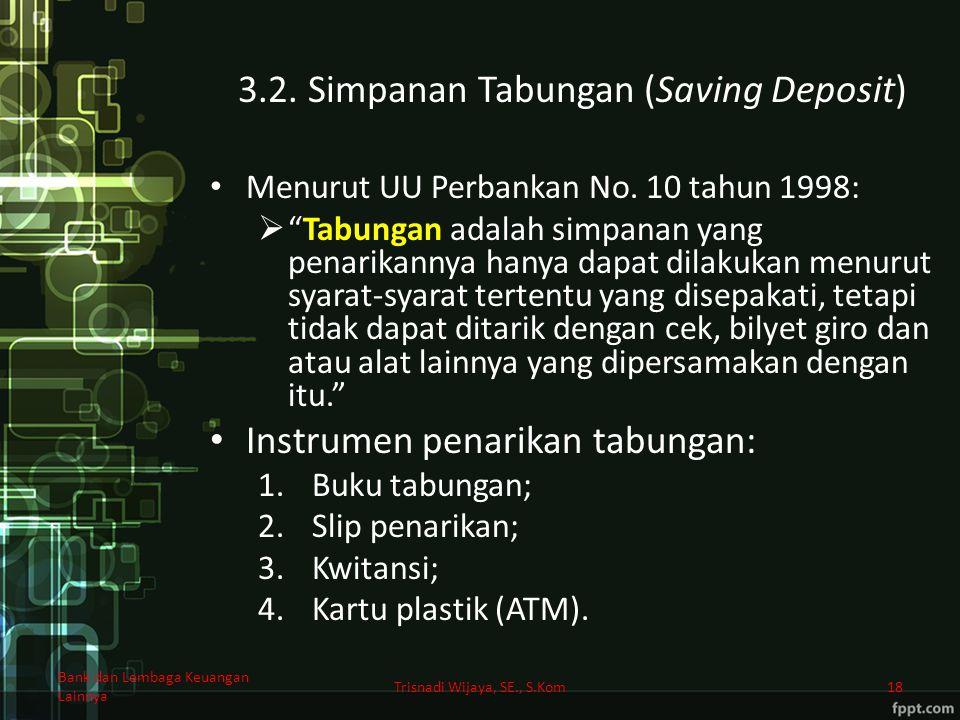 3.2. Simpanan Tabungan (Saving Deposit)