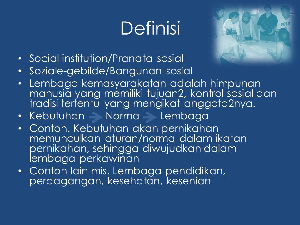 Definisi Social institution/Pranata sosial
