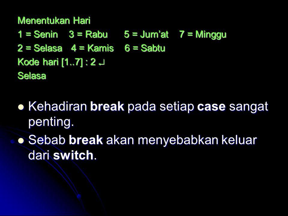 Kehadiran break pada setiap case sangat penting.