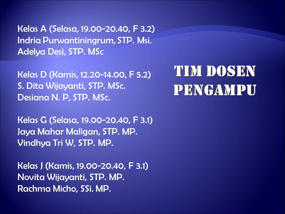 TIM Dosen pengampu Kelas A (Selasa, 19.00-20.40, F 3.2)