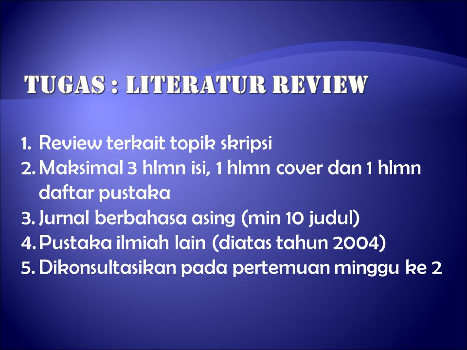 Tugas : literatur review