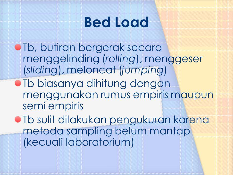 Bed Load Tb, butiran bergerak secara menggelinding (rolling), menggeser (sliding), meloncat (jumping)
