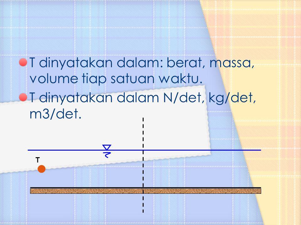 T dinyatakan dalam: berat, massa, volume tiap satuan waktu.
