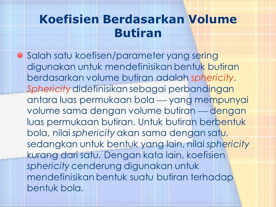 Koefisien Berdasarkan Volume Butiran