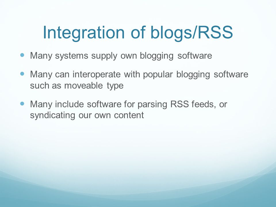Integration of blogs/RSS
