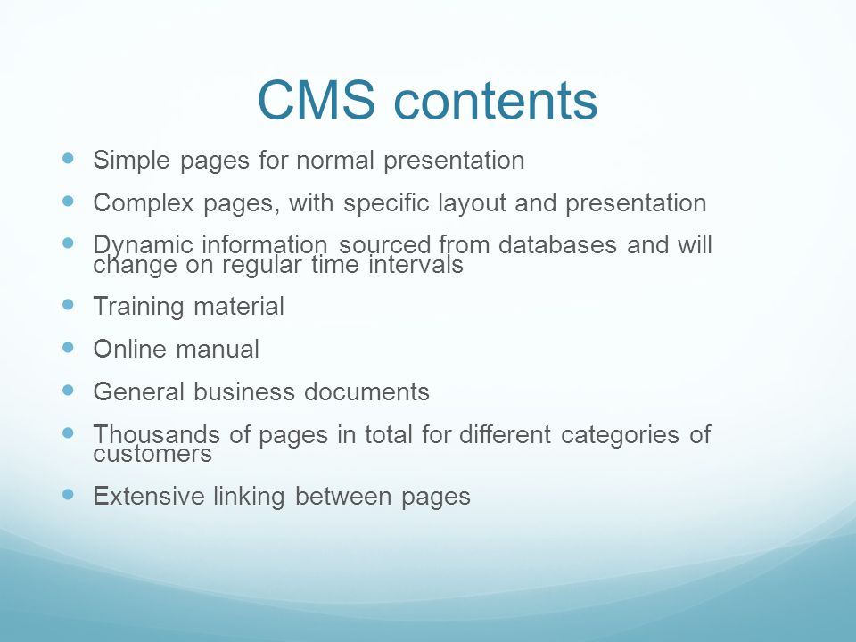 CMS contents Simple pages for normal presentation