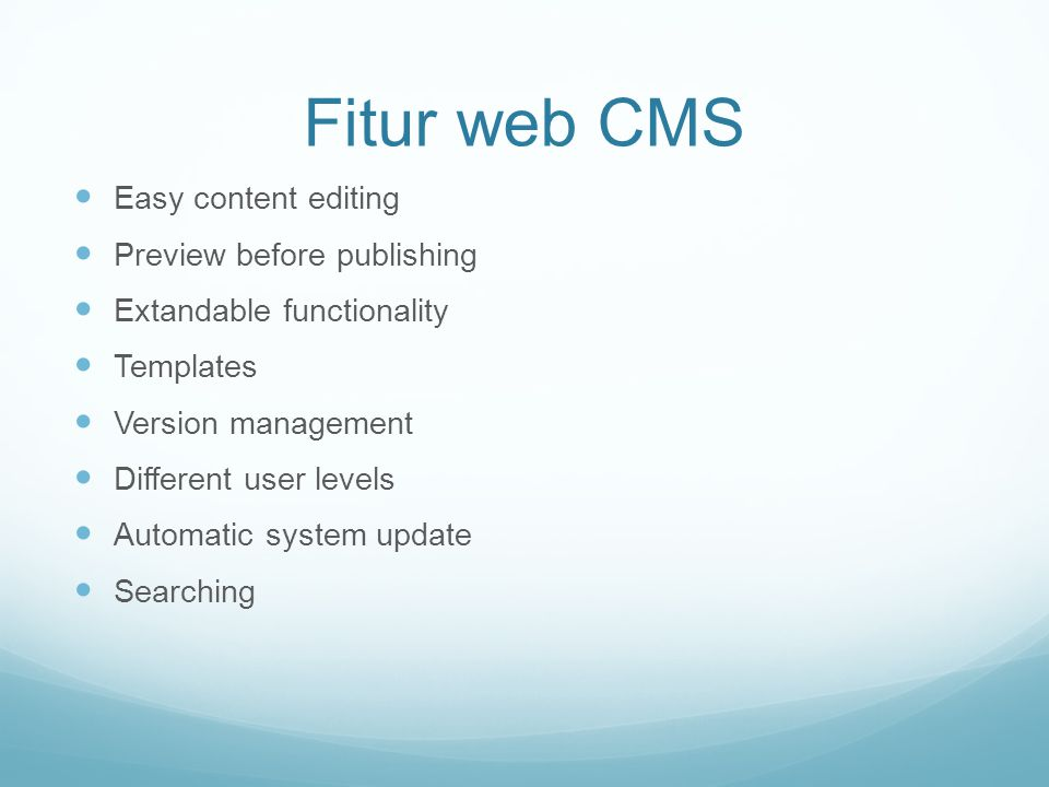 Fitur web CMS Easy content editing Preview before publishing