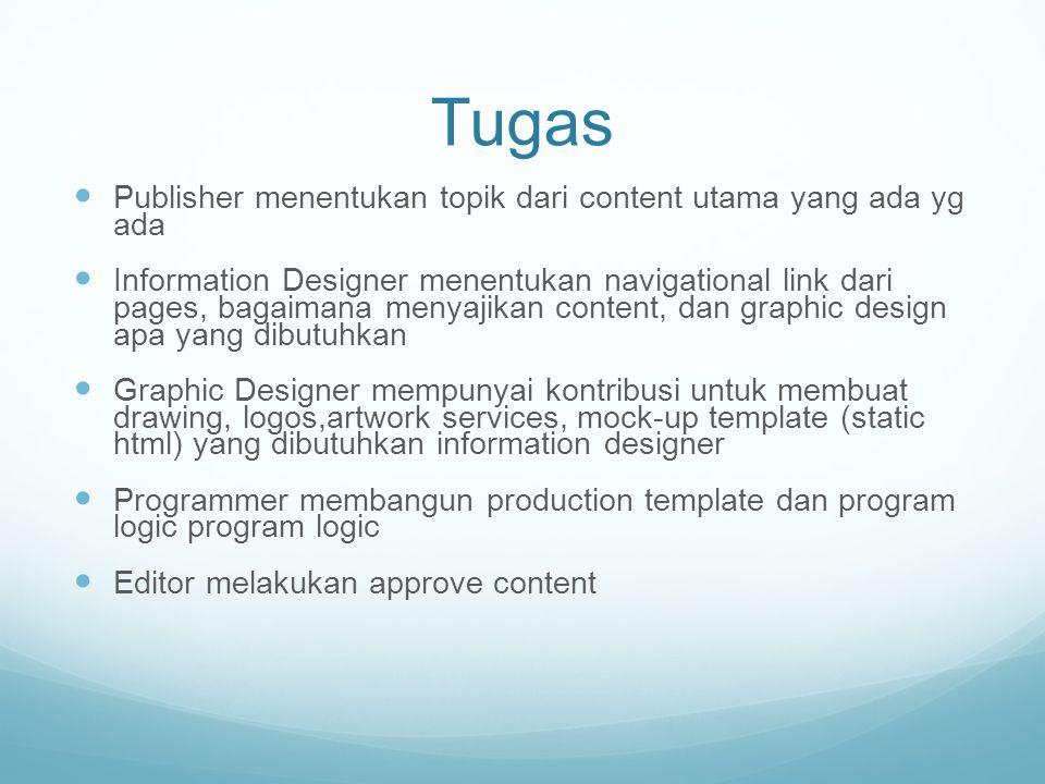 Tugas Publisher menentukan topik dari content utama yang ada yg ada