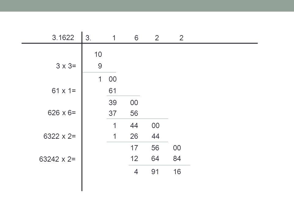 3.1622 3. 1 6 2 2. 10. 3 x 3= 9. 1. 00. 61 x 1= 61. 39. 00.