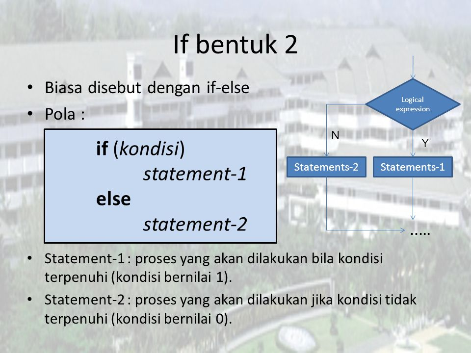 If bentuk 2 if (kondisi) statement-1 else statement-2
