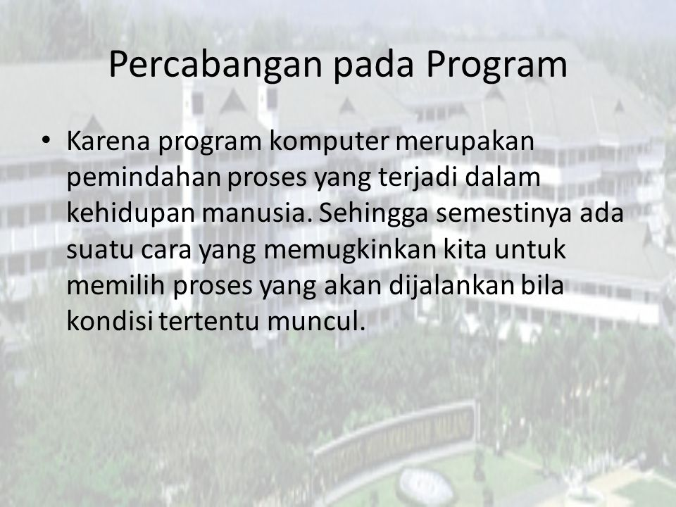Percabangan pada Program