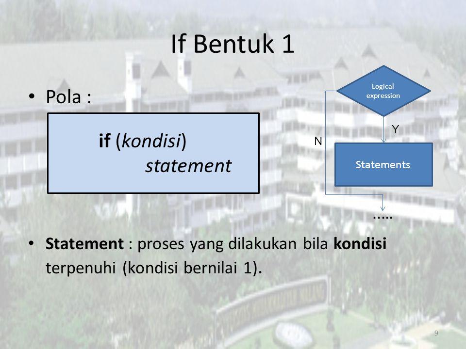 If Bentuk 1 Pola : if (kondisi) statement