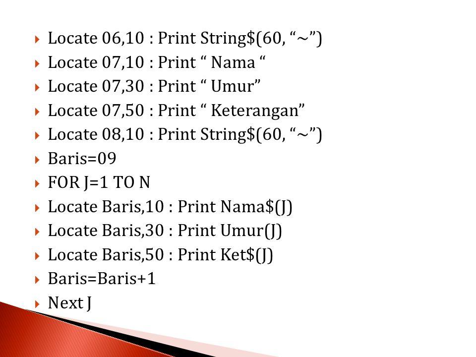 Locate 06,10 : Print String$(60, ~ )