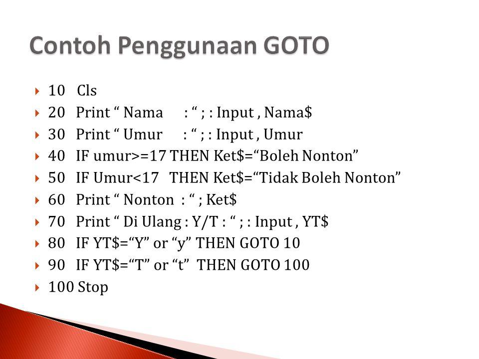 Contoh Penggunaan GOTO