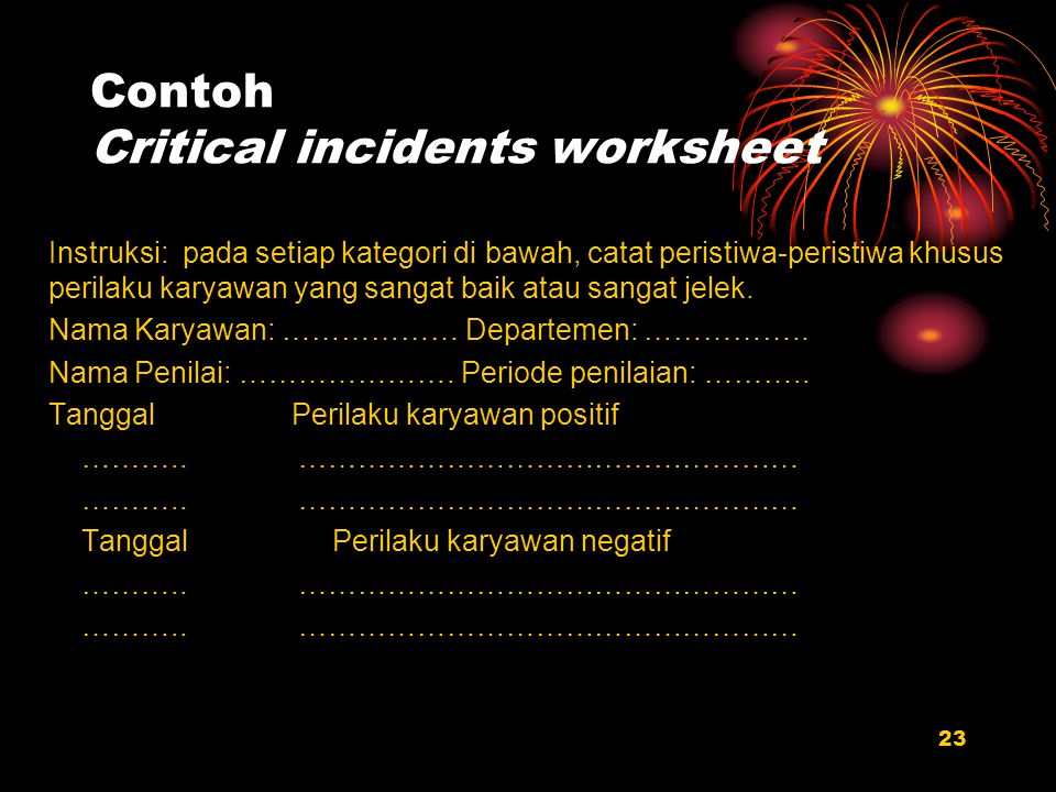 Contoh Critical incidents worksheet